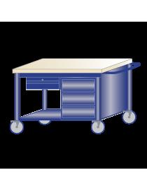 Banco da lavoro piano legno su ruote